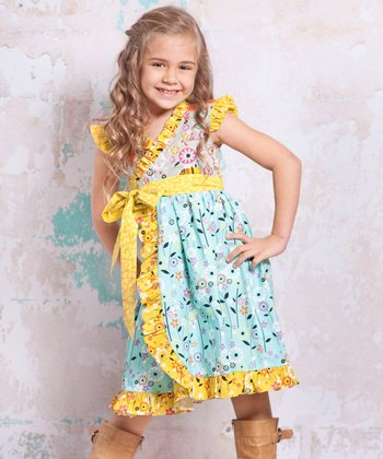 Blue & Yellow Bees Misha Dress - Infant, Toddler & Girls