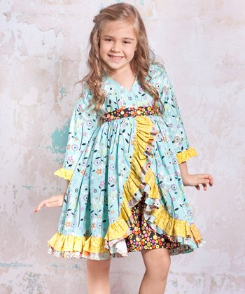 Blue & Yellow Bees Jordan Dress - Toddler