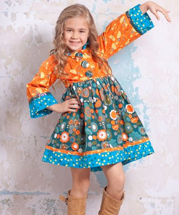 Blue & Orange Agra Hannah Hooded Dress - Infant, Toddler & Girls