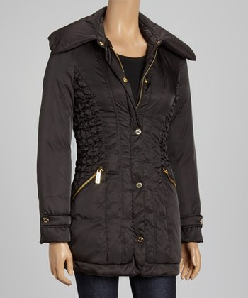 Black Ruched Puffer Jacket - Women
