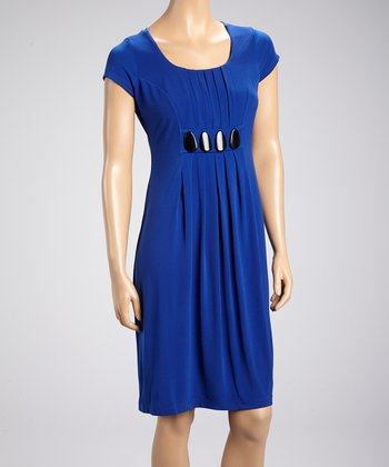 Royal Blue Embellished-Waist Scoop Neck Dress