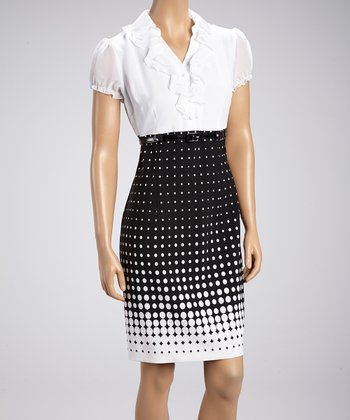 White & Black Polka Dot Ruffle Dress