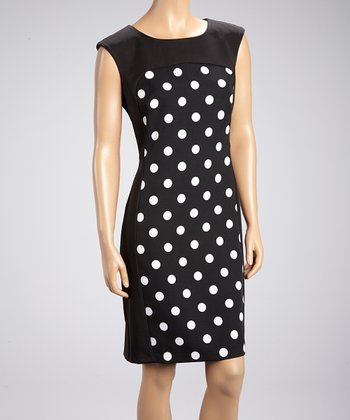 Black & White Polka Dot Sheath Dress
