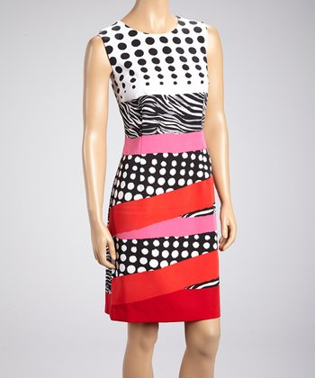 Red & Black Polka Dot Sleeveless Dress