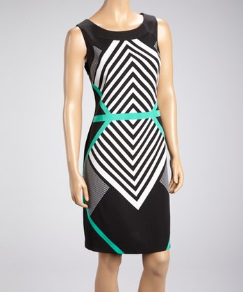 Black & Teal Geometric Dress