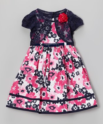 Navy & Pink Floral Belted Dress & Shrug - Toddler & Girls