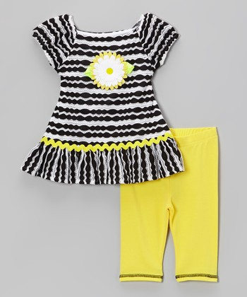 Yellow & Black Stripe Daisy Dress & Leggings - Toddler & Girls