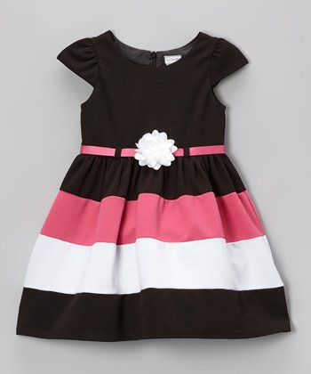 Black Color Block Ottoman Dress - Toddler & Girls