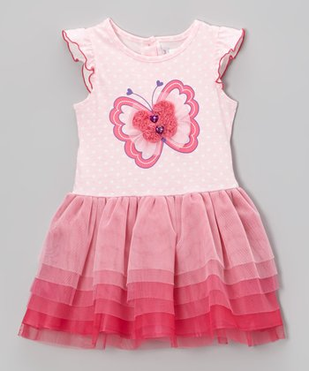 Pink Butterfly Tiered Ruffle Dress - Toddler & Girls