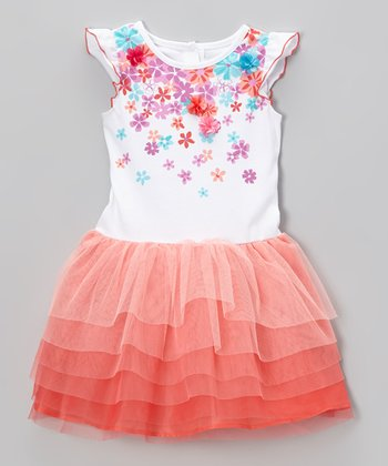 Coral Floral Tiered Ruffle Dress - Toddler & Girls