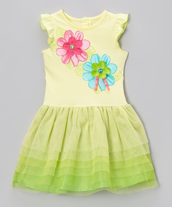 Yellow & Lime Daisy Tiered Ruffle Dress - Toddler & Girls
