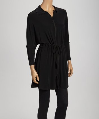 Black Ruched Zip-Up Dress