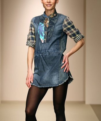 Blue & Plaid Denim Tunic