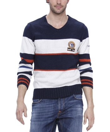 Navy Blue & White Stripe Wool-Blend Sweater - Men