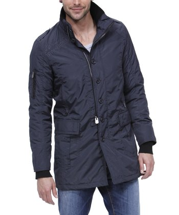 Navy Blue Long Jacket - Men