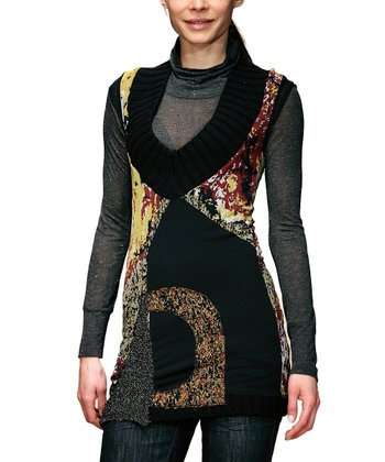 Black Patchwork Turtleneck Tunic - Women