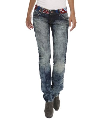 Light Blue Denim Faded Straight-Leg Jeans - Women