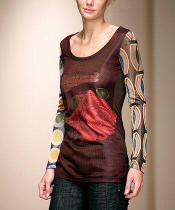 Maroon Floral Scoop-Neck Top - Women