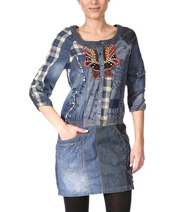 Blue Denim Patchwork Tunic - Women