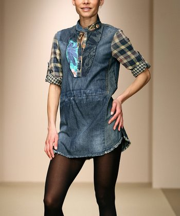 Blue Denim Plaid Patchwork Tunic - Women