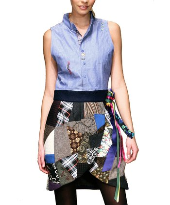 Blue Patchwork Tulip Dress - Women
