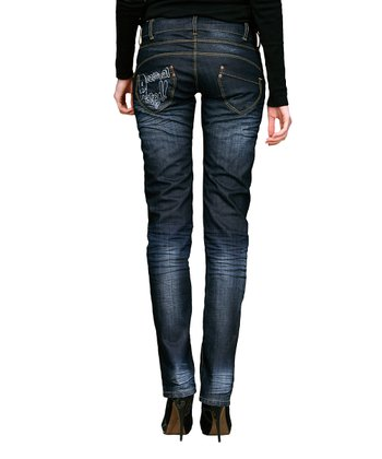 Dark Blue Faded Slant Pocket Straight-Leg Jeans - Women