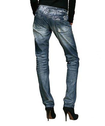 Blue Faded Straight-Leg Jeans - Women