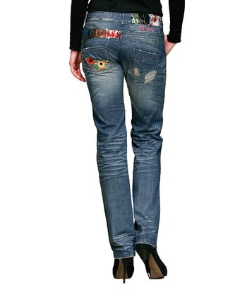 Blue Faded Patchwork Straight-Leg Jeans - Women