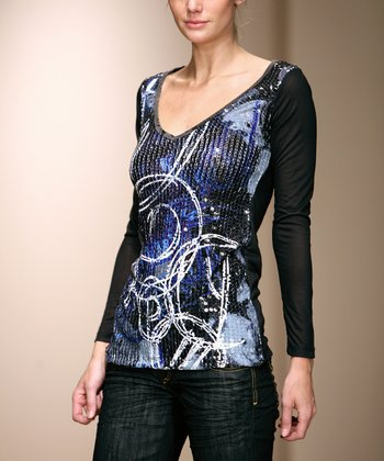 Blue & Black Sequin Top - Women
