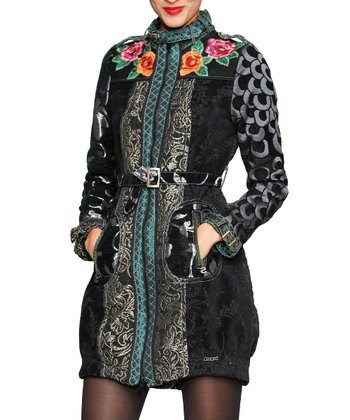 Black Belted Floral Jacket - Women