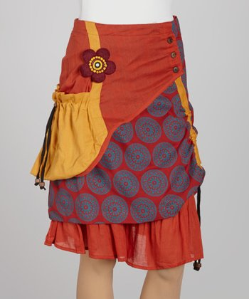 Rust Arabesque Patchwork Peasant Skirt