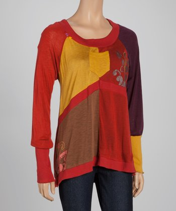Rust Pocket Color Block Top