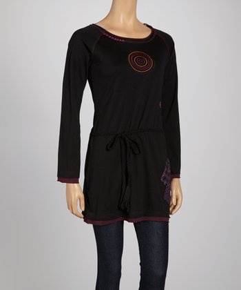 Black Circle Long-Sleeve Tunic