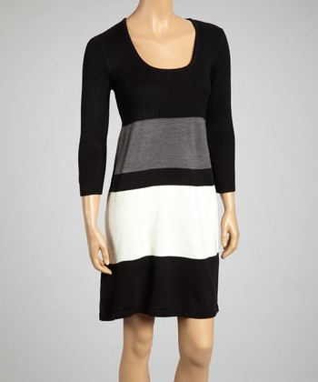 Black & Ivory Color Block Dress