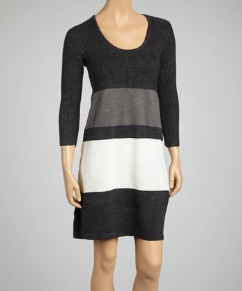 Dark Heather Gray & Ivory Stripe Sweater Dress