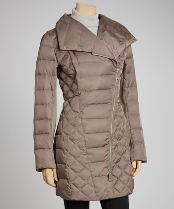 Mink Asymmetrical Zipper Puffer Jacket