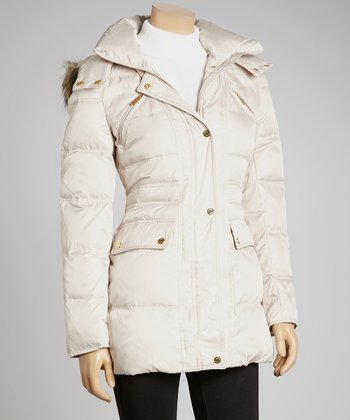 Bone Faux Fur Puffer Jacket