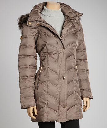 Mink Hooded Puffer Jacket