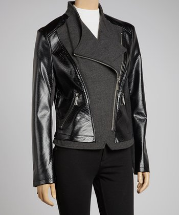 Gray Asymmetrical Zipper Moto Jacket