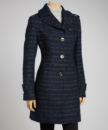 Navy & Gold Epaulet Wool-Blend Jacket