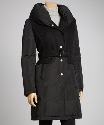 Black Sash Puffer Jacket
