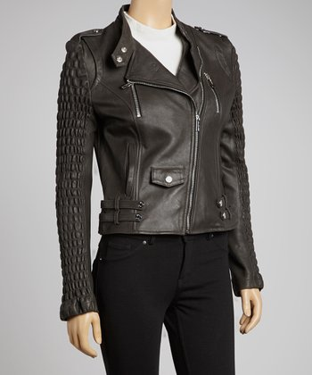Black Epaulet Leather Jacket