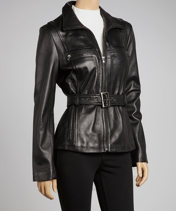 Black Sash Leather Jacket - Women
