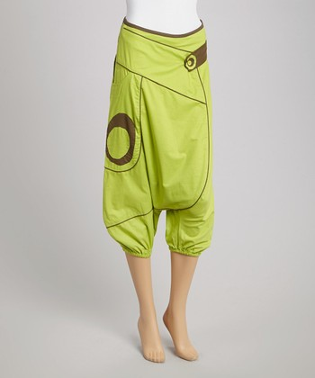 Lime & Khaki Cropped Harem Pants