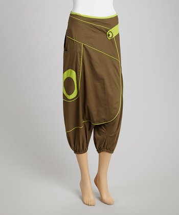 Khaki & Lime Cropped Harem Pants
