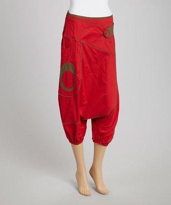 Red & Khaki Cropped Harem Pants