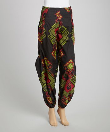 Black Graphic Harem Pants