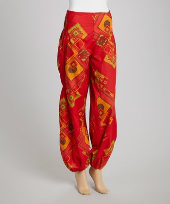Red Graphic Harem Pants