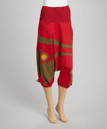 Red & Green Harem Pants