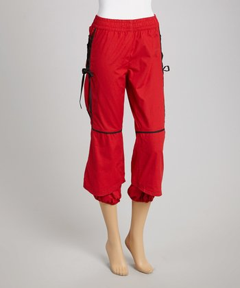 Red Laced Cropped Pants